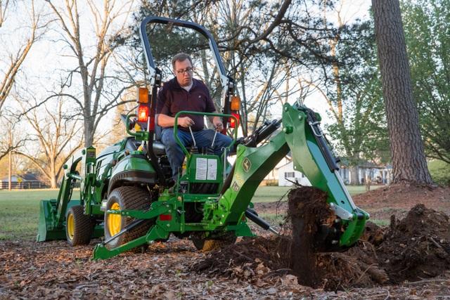 John Deere tractor backhoe