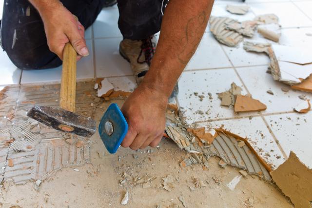 bathroom remodeling construction worker
