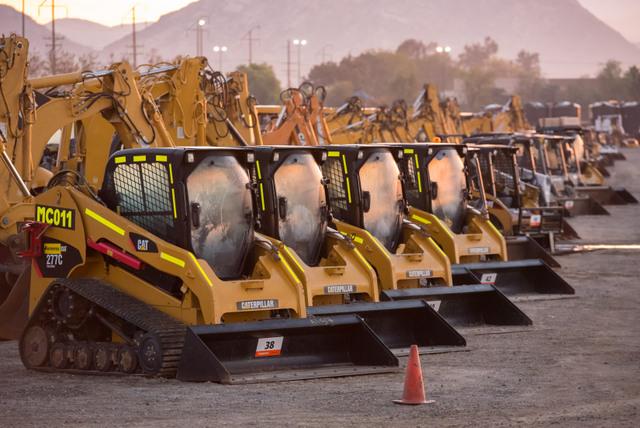 cat used equipment track loader rental lot