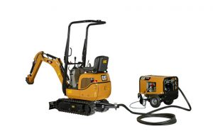 Cat 300.9D VPS mini hydraulic excavator can work via a remote electrical power source