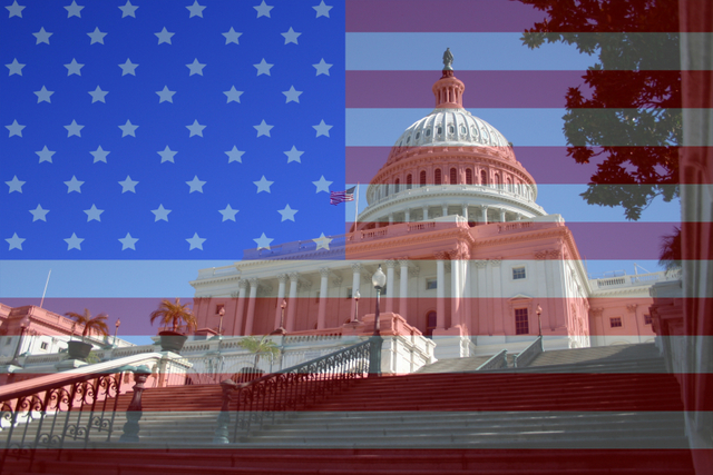 Washington DC capital American flag