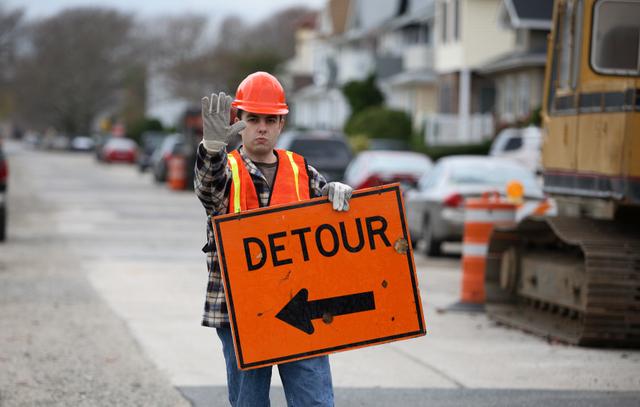 construction worker detour sign (cut 1)