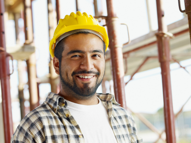 construction worker happy hard hat employee