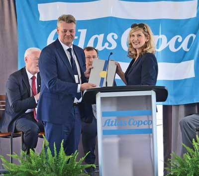 Atlas Copco grand opening: podium