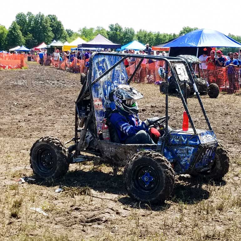 Students' all-terrain vehicles are tested in the Baja Collegiate Design Competition's dynamic events, including acceleration, braking, hill climbing and maneuverability.