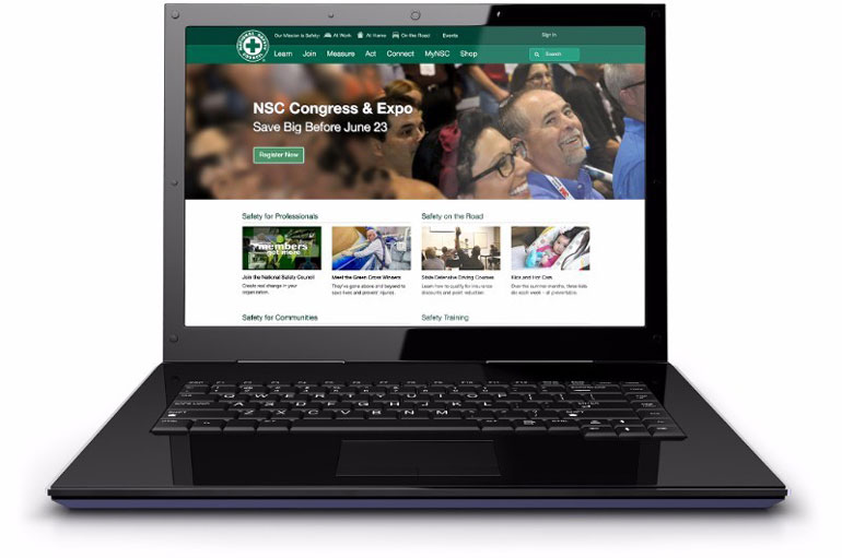 laptop showing National Safety Council website