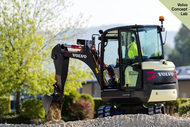 The EX2 is the world's first fully electric compact excavator prototype.