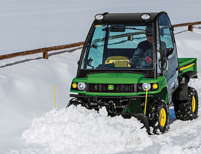 John Deere UTV in snow