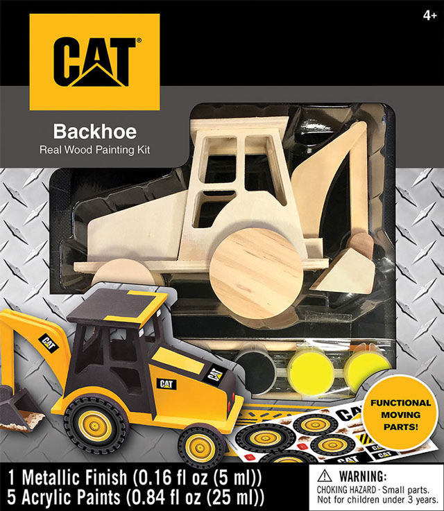 cat wooden backhoe paint kit
