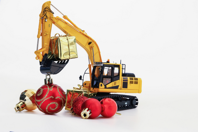 Christmas holiday construction excavators ornaments