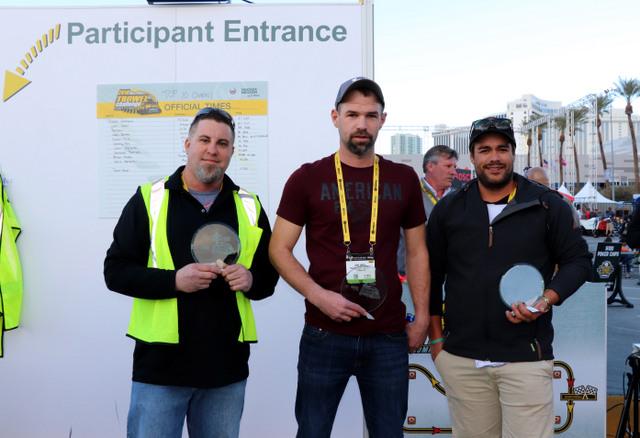 Wacker Neuson's Trowel Challenge® Competition winners for 2018: (l to r), first place, Derek Gromacki, PJ Dick, Inc., Pittsburgh, PA; second place, Josh Smith, H & M Precision Concrete, Greenville, OH; third place, Tai Johnson, V & G Concrete Construction, Melbourne, Australia.