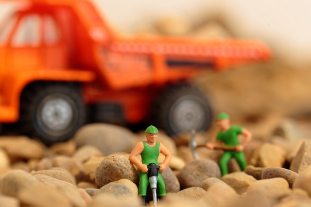 construction workers worker miniature toys dump jackhammer