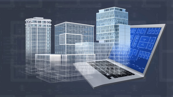 Office buildings project emerging from a computer CAD software for architectural design, showing constuction plans, blueprint and structure. All models and plans are  available in my portfolio.