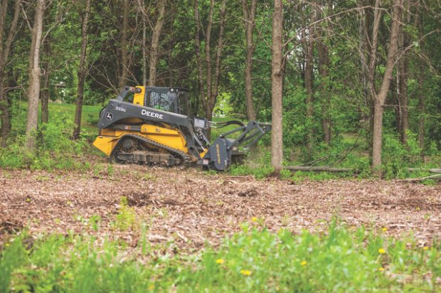 New John Deere Mulching Head Shreds Wood in Minutes