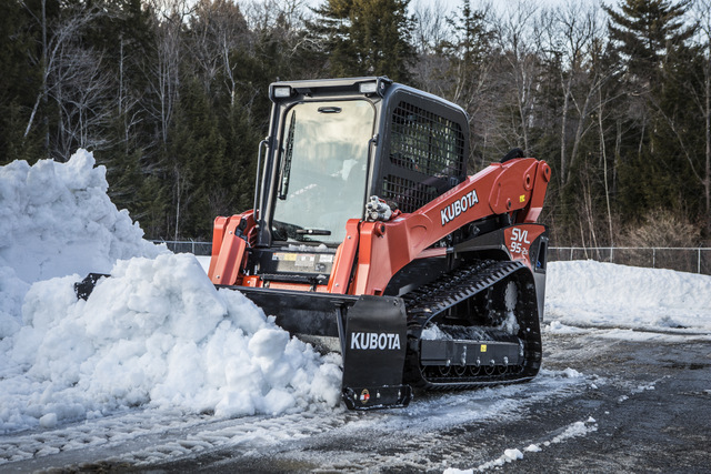 Kubota track loader and snowpusher