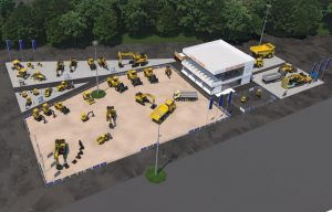 Here's what Volvo CE's booths will look like at bauma (the exhibits have a big focus on its new electric compact machines)