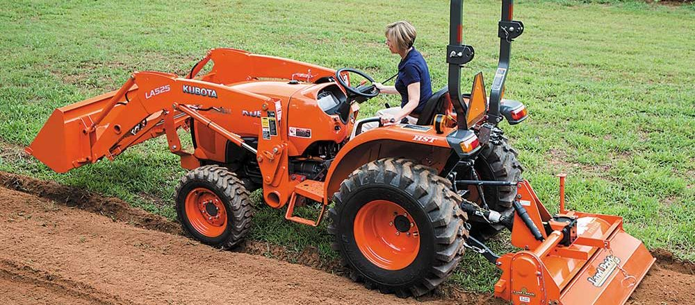 Kubota tractor with Land Pride attachment