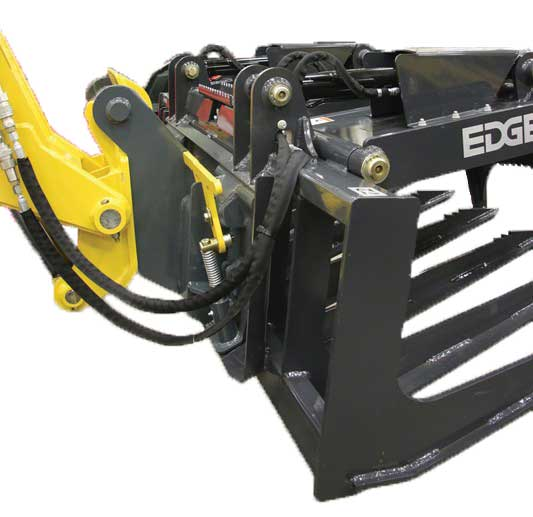 The Adapter attaches to the Gehl RS5-19 telescopic handler