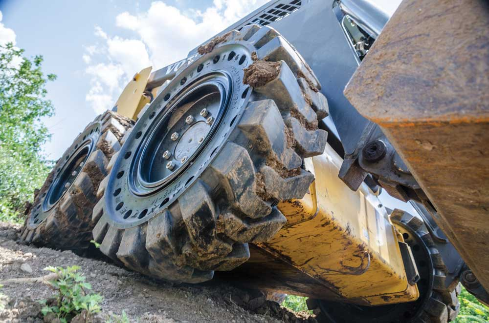 close-up of skid steer tires