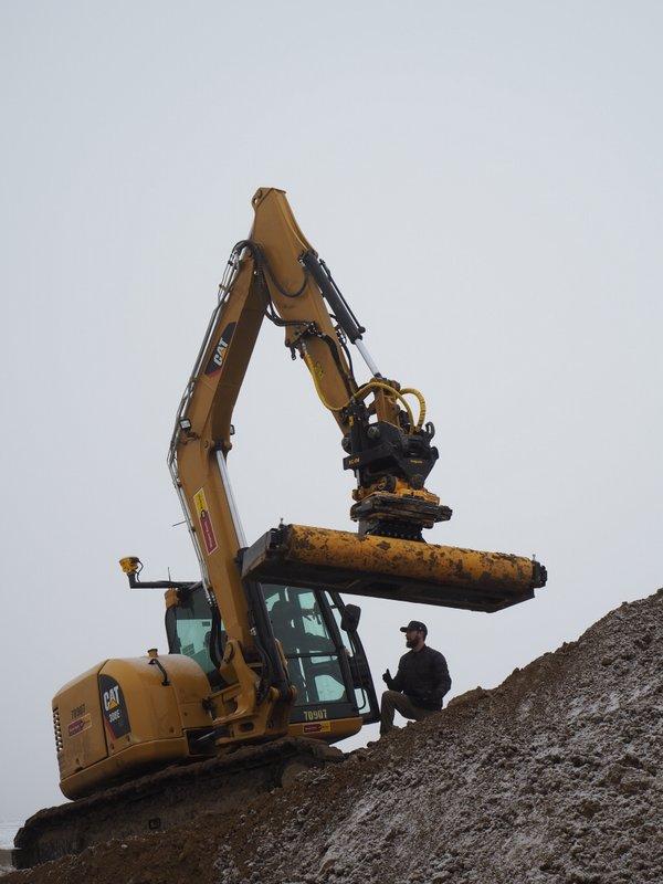 Cat excavator Trimble motorcross bike jump 2