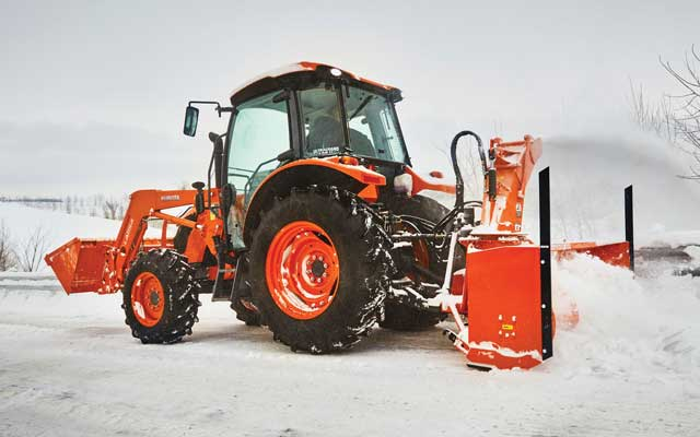 Kubota tractor with snow blower attachment
