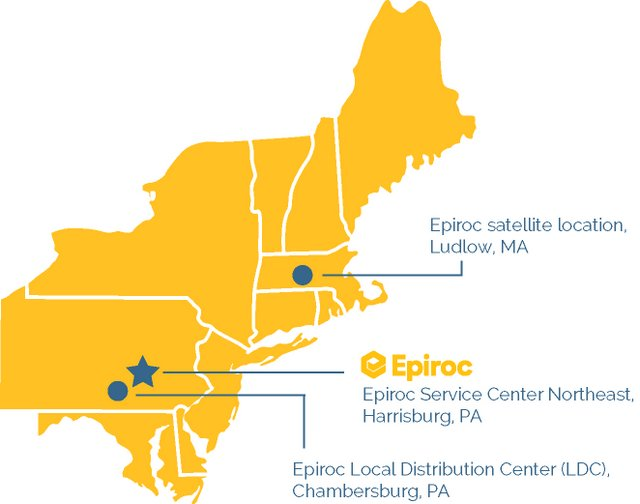 Epiroc_Service Center Northeast_Map