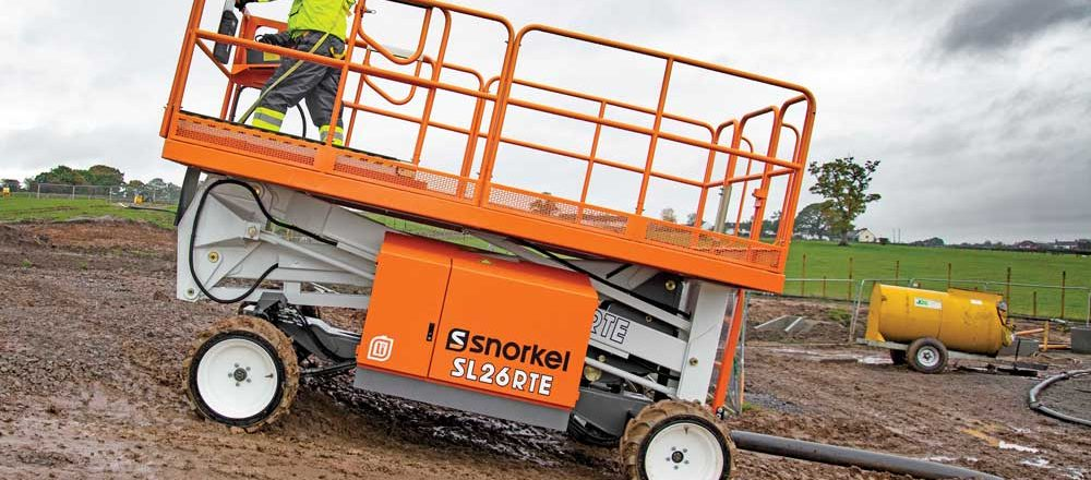 The Snorkel SL26RTE is an all-electric Speed Level model slab scissor