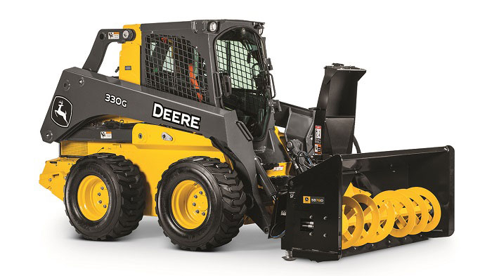 John Deere skid steer with snow blower attachment