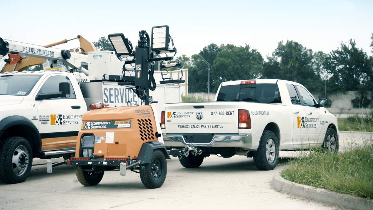 Truck with light tower rental equipment