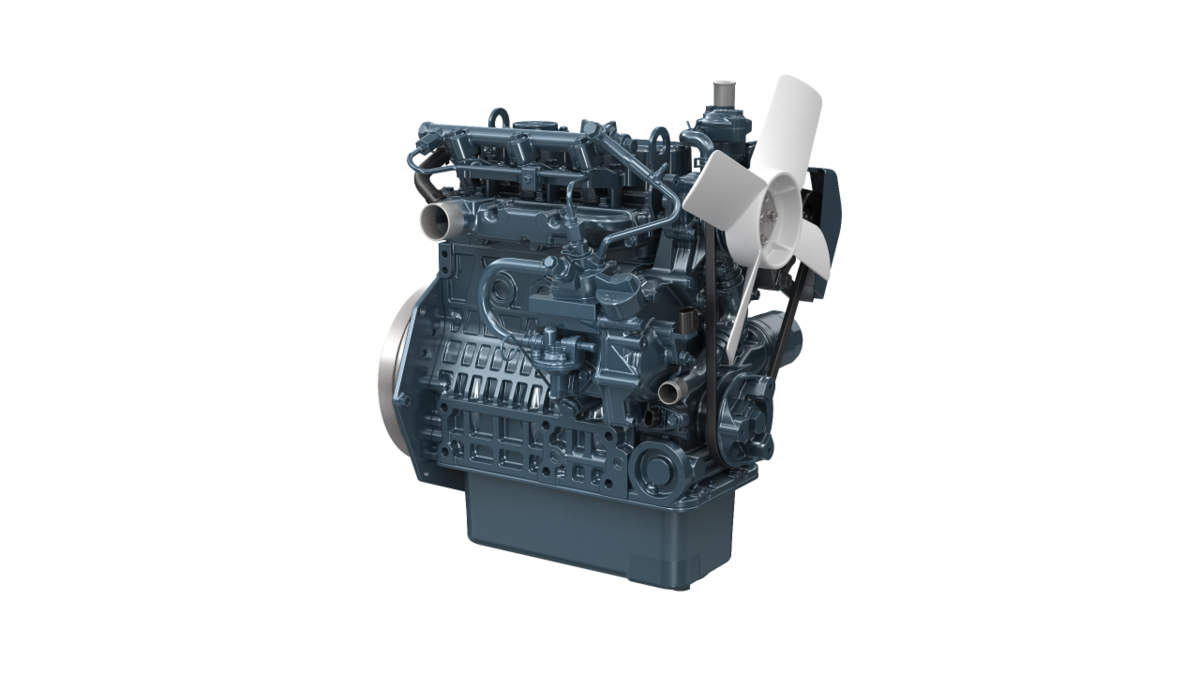 Kubota diesel engine on a white background