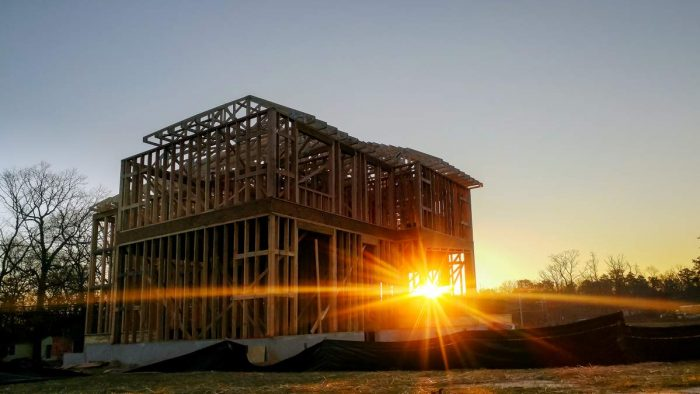 home construction sun dawn house