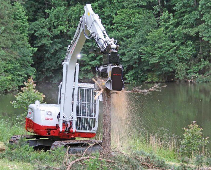 Takeuchi excavator with mulching attachment
