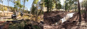 Before and after photos of the new pond on Keith Fortin's property in Montana thanks to the Bobcat Create & Conserve contest.