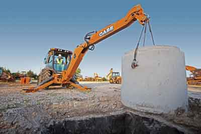 """N Series backhoes at Case feature """"Power Lift,"""" which is a hydraulic system that lets an operator throw a switch and channel extra hydraulic flow to the backhoe to break through a resistant situation."""