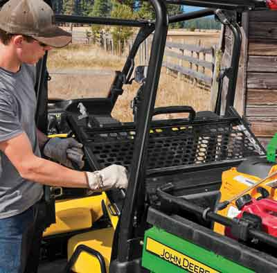 John Deere doesn't technically offer a conversion UTV, but all four of the John Deere multi-row vehicles allow for the back seating to be converted into more storage space.