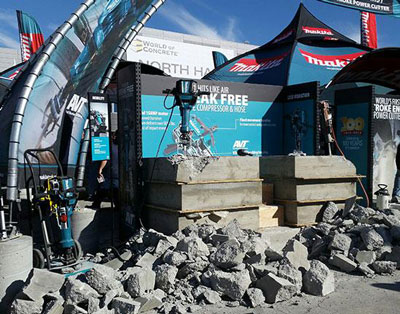 Makita will give attendees at next month's World of Concrete an opportunity to run the Advanced AVT® 70 lb. Breaker (HM1812) against a 60 lb. pneumatic hammer.