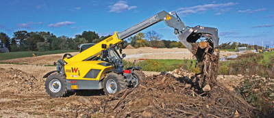 A compact telehandler is a tool carrier and can take attachments like buckets, brooms and hydraulic grapples.