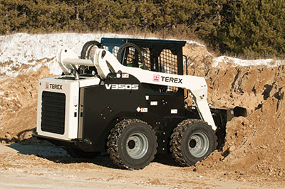 The big and burly Terex V350S boasts a 74-hp Deutz diesel engine and a rated operating capacity of 3,500 lbs.