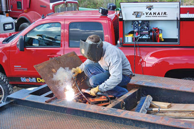 Welder/generators can be mounted many ways in work trucks and remote control functionality adds further flexibility.