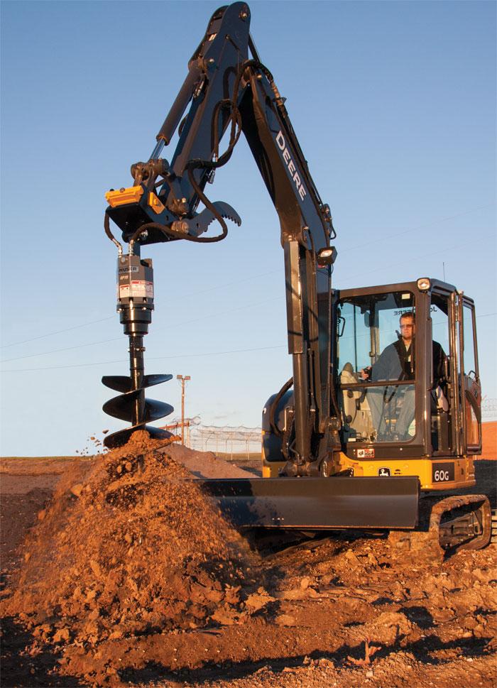 Know your hydraulics: Most auger drive units for mini excavators prefer gpm between 5 and 35 and psi from 1,500 to 3,500.