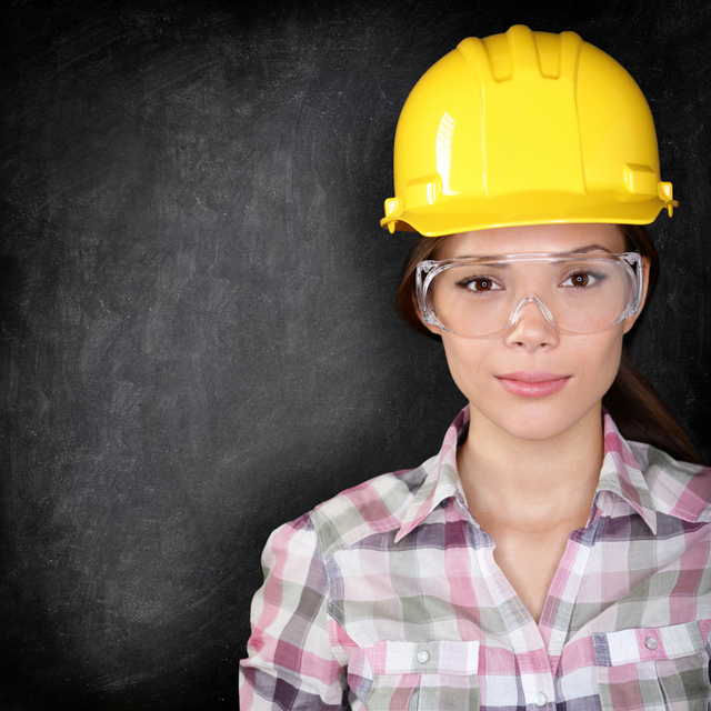 women woman construction hat safety glasses
