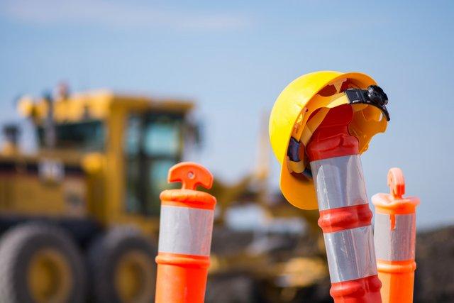 highway construction safety hardhat motor grader