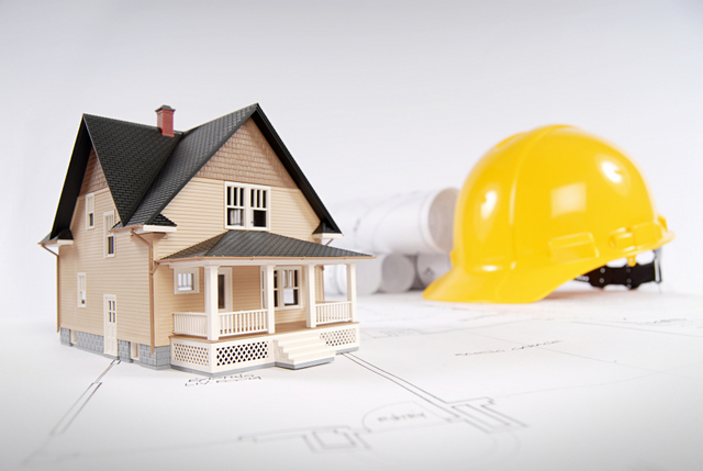 home housing construction model home hardhat