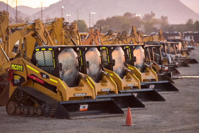 cat used equipment track loader rental lot